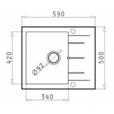 Chiuveta pentru bucatarie granit Pyramis Alazia - Iron Grey 590mmx500mm