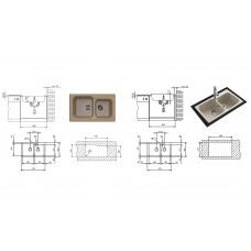 Chiuveta pentru bucatarie soft compozit Pyramis Twin Artithek 1&3/4B