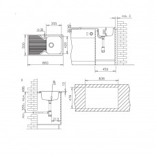 Chiuveta pentru bucatarie soft compozit Pyramis Stripe Durothek 1B1D DR