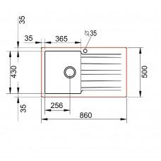 Chiuveta pentru bucatarie soft compozit Pyramis SIERRA Durothek 1B 1D ST Alb