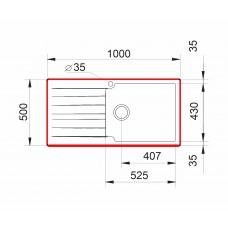 Chiuveta pentru bucătărie soft compozit Pyramis SIERRA Durothek 100X50 1B1D DR