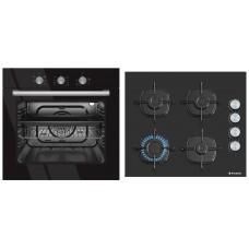 Pachet Pyramis Black Glass 500S cuptor electric + plita gaz